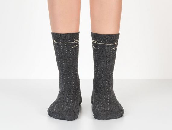 Simli Kurdele Desenli Kadın Çorabı - Antrasit / Melanj