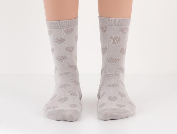Kalp Desenli Kadın Çorabı - Gri