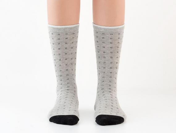 Simli Soket Kadın Çorabı - Gri