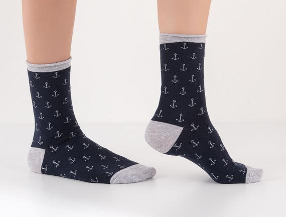 Çapa Desenli Lastiksiz Kadın Çorabı - Lacivert