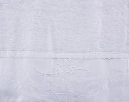 Nakışlı ve Keten Ayrıntılı El Havlusu - Beyaz
