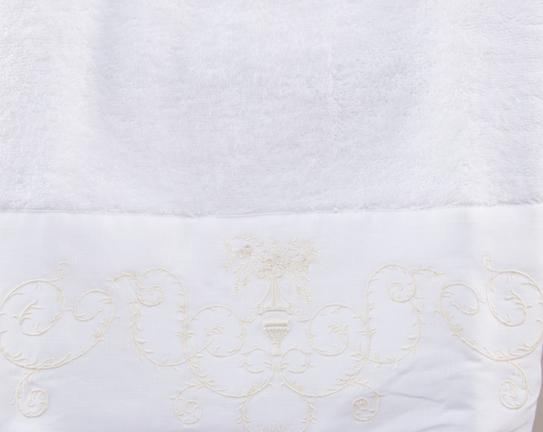 Nakışlı ve Keten Ayrıntılı Yüz Havlusu - Beyaz