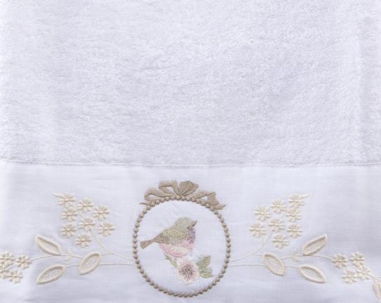 Nakışlı ve Keten Ayrıntılı Banyo Havlusu - Beyaz