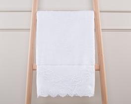 Desenli Havlu 50x76cm - Beyaz