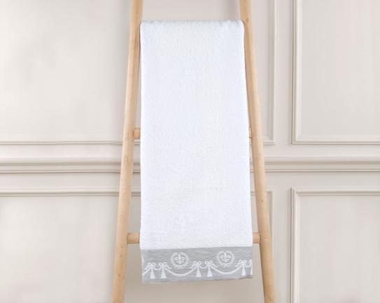 Egesta Jakarlı Banyo Havlusu Beyaz / Açık Gri 70x140cm