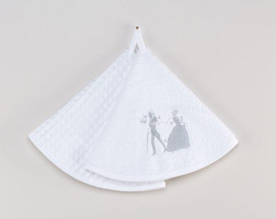 2li Yuvarlak Mutfak Havlusu Beyaz 50cm