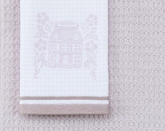 2'li Bordür Baskılı ve Nakışlı Mutfak Havlusu - Beyaz / Mürdüm