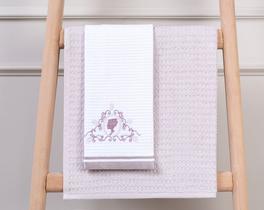 2li Bordürü Nakışlı Mutfak Havlusu Beyaz / Mürdüm 40x60cm