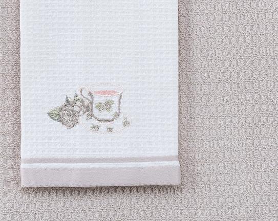 2'li Bordür Baskılı ve Nakışlı Mutfak Havlusu - Ekru / Taş
