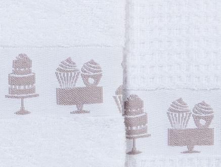 2'li Bordür ve Jakar Baskılı Mutfak Havlusu - Beyaz / Mürdüm - 40x60 cm
