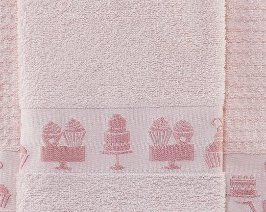 2'li Bordür ve Jakar Baskılı Mutfak Havlusu - Pudra / Koyu Pudra
