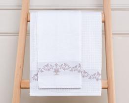 2li Yuvarlak Mutfak Havlusu Beyaz / Mürdüm 50cm