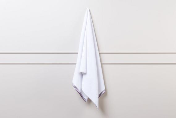 Banyo Havlusu - Beyaz / Koyu Mürdüm