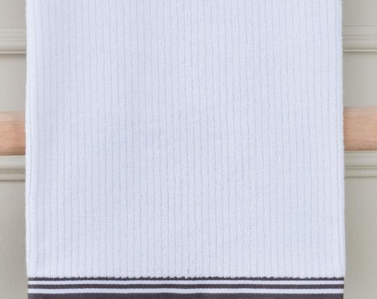 Banyo Havlusu - Beyaz / Antrasit