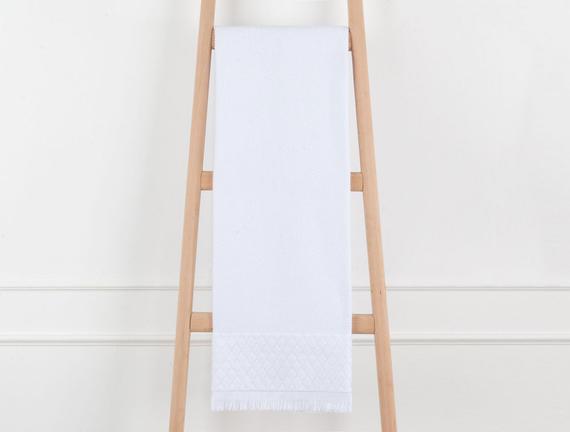 Kadife Püsküllü Banyo Havlusu - Beyaz - 70x140 cm