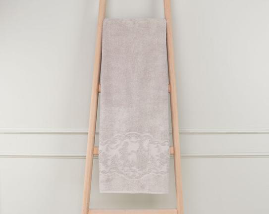 Bordürü Jakarlı Banyo Havlusu Taş 90x150cm