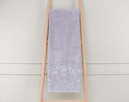 Bordürü Jakarlı Banyo Havlusu 90x150cm - Açık Mürdüm