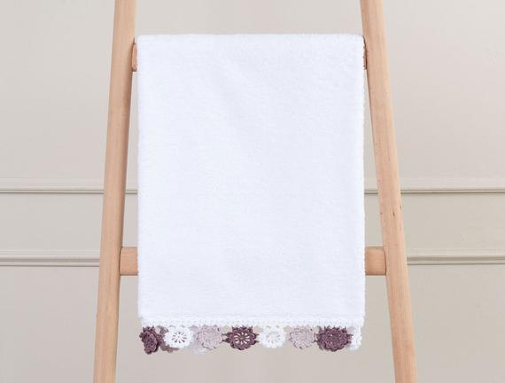 Calla Kroşeli Havlu 50x76cm - Beyaz