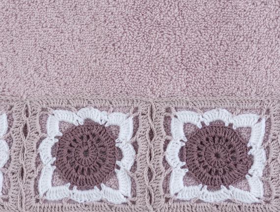 Fleur Kroşeli Havlu Mürdüm 50x76cm