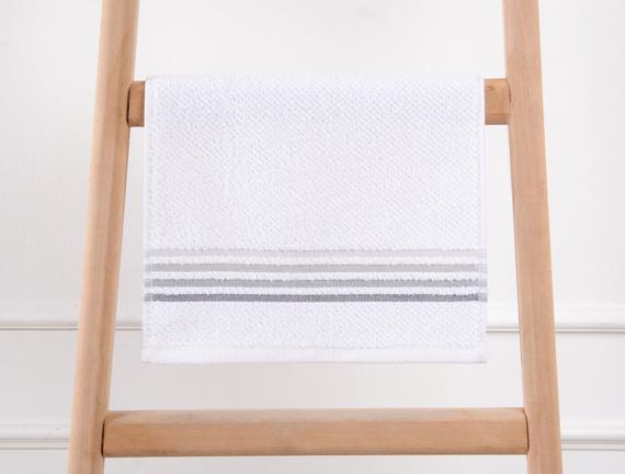 Bordürlü Banyo Havlusu - Beyaz / Gri