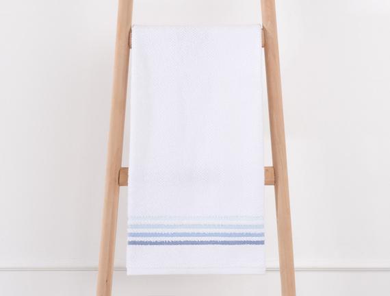 Bordürlü Banyo Havlusu - Beyaz / Mavi