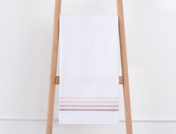 Bordürlü Banyo Havlusu - Beyaz / Pudra
