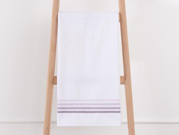 Bordürlü Banyo Havlusu - Beyaz / Mürdüm