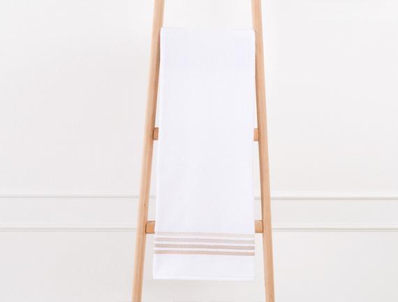 Bordürlü Banyo Havlusu - Beyaz / Toprak - 70x140 cm