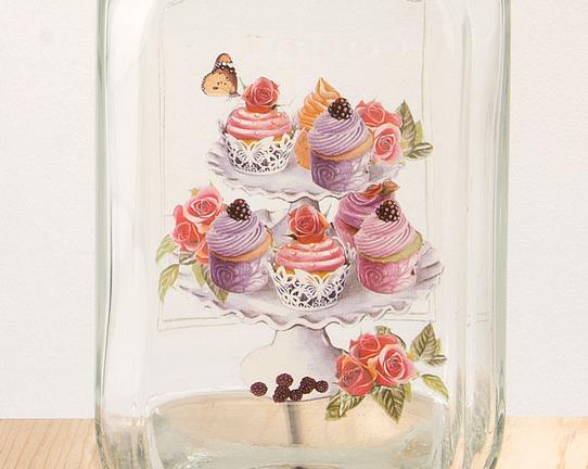 Renkli Cupcake Desenli Cam Kavanoz