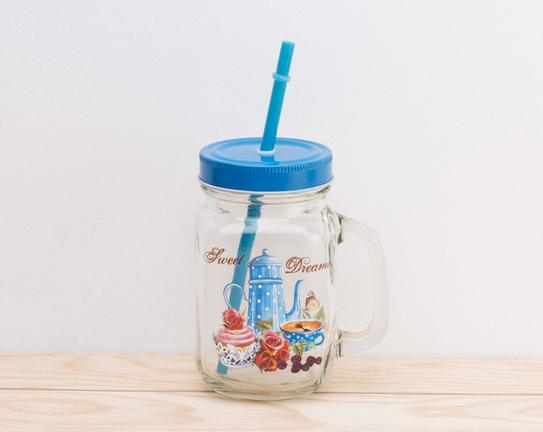 Pipetli Cam Kavanoz Blue Teapot