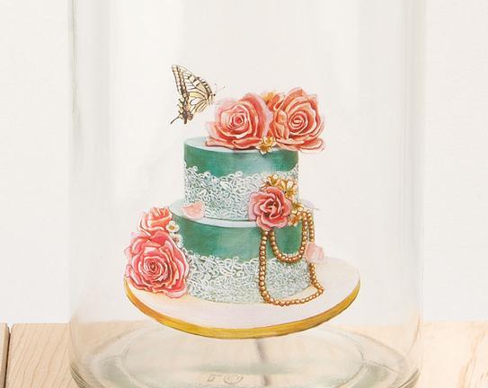 Düğün Pastası Desenli Cam Kavanoz