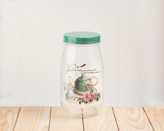 Yeşil Çaydanlık Desenli Cam Kavanoz