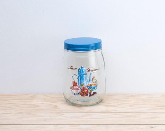 Mavi Çaydanlık Desenli Cam Kavanoz
