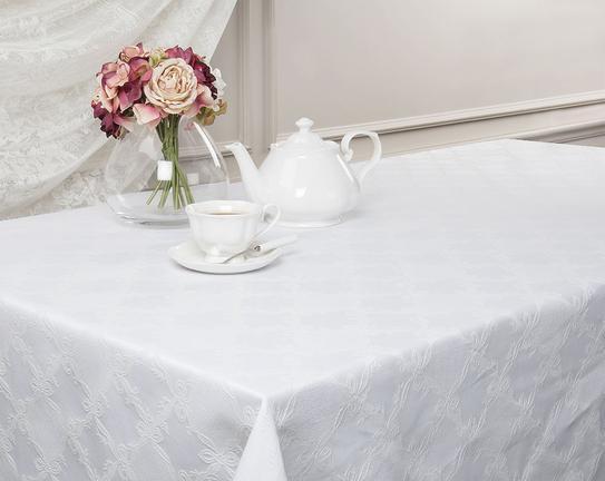 Kumaş Dikdörtgen Masa Örtüsü - Beyaz