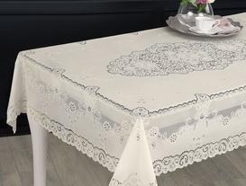 Vinil Dikdörtgen Masa Örtüsü - Ekru