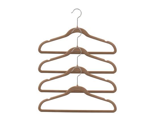 4'lü Kadife Elbise Askısı - Toprak