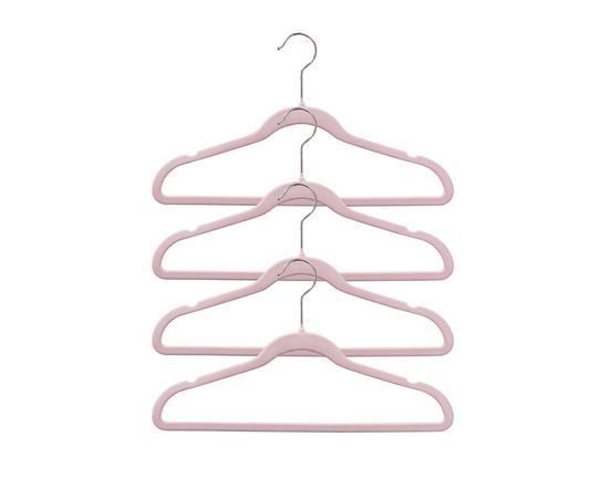 4'lü Kadife Elbise Askısı - Pudra
