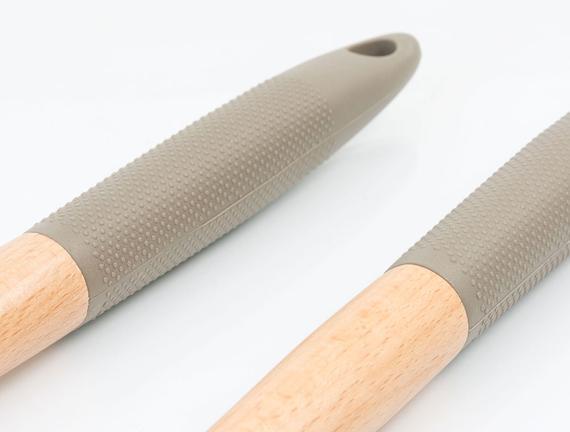 Silikon Saplı Bambu Salata Servis Seti