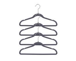 4'lü Kadife Elbise Askısı - Antrasit / Gri