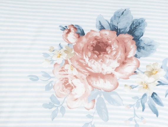 Rose Çift Kişilik Ranforce Nevresim Takımı - Mavi / Pudra