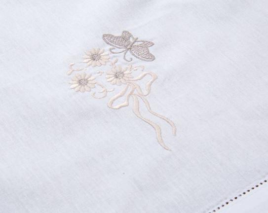 Nakışlı Dekoratif Peçete - Beyaz