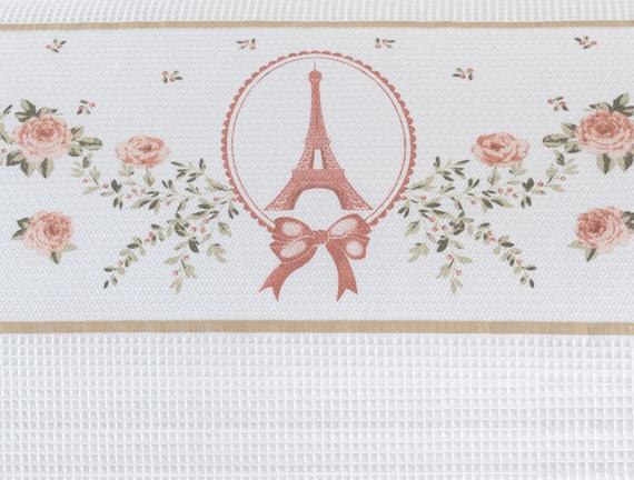 Eiffel Tek Kişilik Bordürü Baskılı Pike - Beyaz