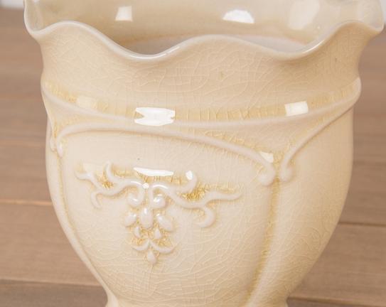 Dekoratif Seramik Saksı Sarı 12x12cm