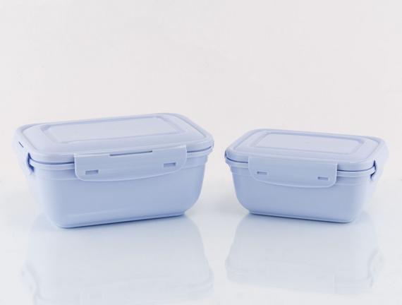 2'li Dikdörtgen Saklama Kabı - Mavi