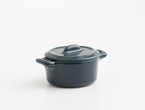 Oval Mini Seramik Tencere - Petrol Mavisi