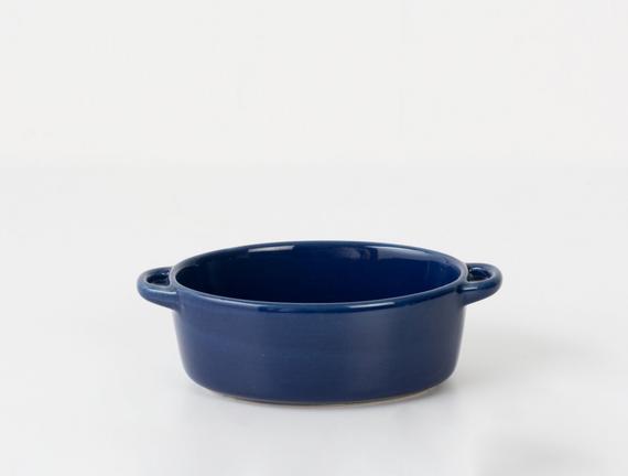 Oval Mini Seramik Tencere - Lacivert