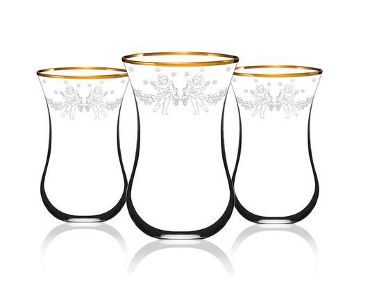 Melek Figürlü 6'lı Çay Bardağı - Altın