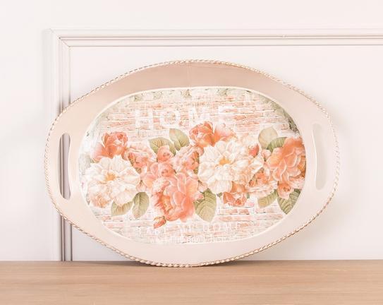 Çiçek Desenli Kulplu Oval Tepsi