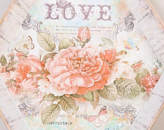 Çiçek Desenli Kulplu Altıgen Tepsi