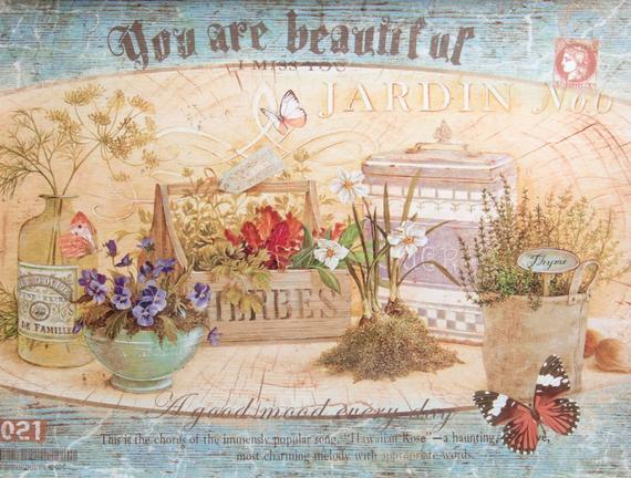 Mini Bahçe Desenli Kulplu Dikdörtgen Tepsi
